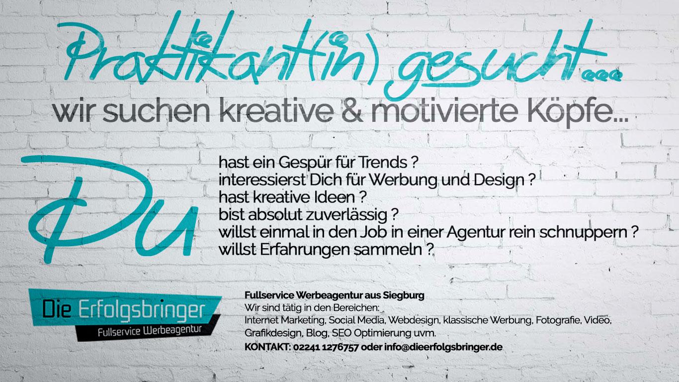 Praktikant gesucht - Webeagentur Siegburg - Die Erfolgsbringer