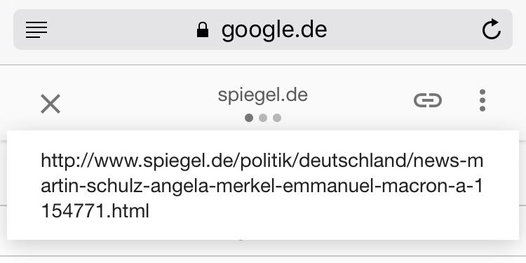 Screenshot von AMP und Google URL