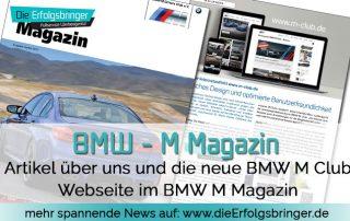 Die Erfolgsbringer sorgen für eine neue BMW M Club Webseite