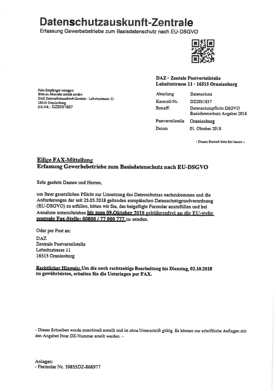 Abzockversuch der Datenschutzauskunft-Zentrale-Die Erfolgsbringer decken auf-Beispiel 1