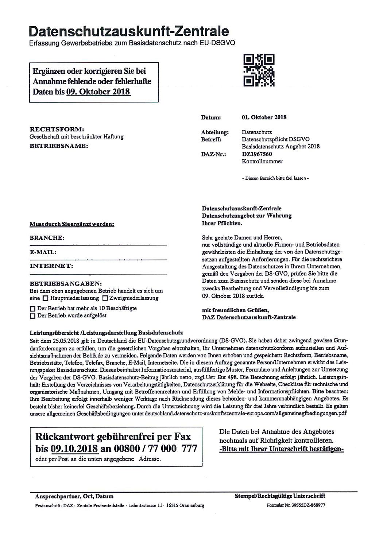 Abzockversuch der Datenschutzauskunft-Zentrale-Die Erfolgsbringer decken auf-Beispiel 2