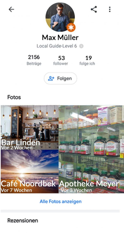 Google Usern folgen Profil